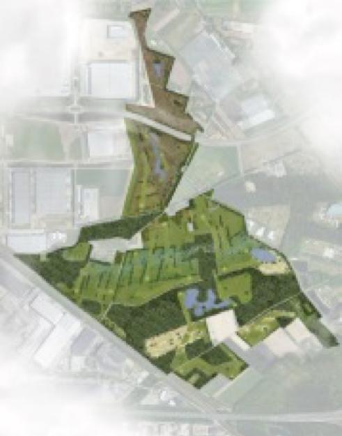 Kaart van geplande golfterrein nabij knooppunt Zaarderheiken